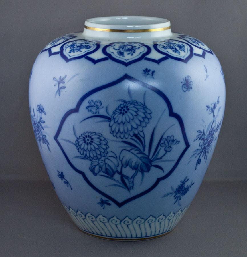 vista alegre blaue grosse vase florales dekor mit goldrand ebay. Black Bedroom Furniture Sets. Home Design Ideas